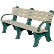 Polly Products Park Classic 6 Ft. Backed Bench with Arms, Brown Bench/Brown Frame