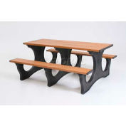 Polly Products Polly Tuff Easy Access 6' Picnic Table, Cedar Top/Black Frame