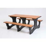 Polly Products Polly Tuff Easy Access 8' Picnic Table, Cedar Top/Black Frame