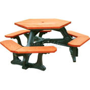 Polly Products Plaza Hex Table, Cedar Top/Black Frame
