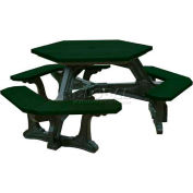 Polly Products Plaza Hex Table, Green Top/Black Frame