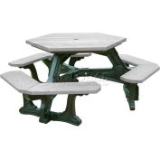 Polly Products Plaza Hex Table, Gray Top/Black Frame