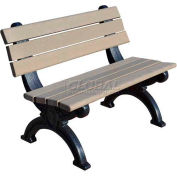 Polly Products Silhouette 4 Ft. Backed Bench, Cedar Bench/Black Frame