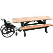 Polly Products Standard 8' Picnic Table ADA Compliant Both Ends, Weathered Top & Bench/Black Frame
