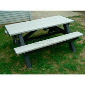 Polly Products Standard 6' Picnic Table, Weathered Top & Bench/Black Frame