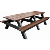 Polly Products Standard 8' Picnic Table, Brown Top & Bench/Black Frame