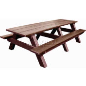 Polly Products Standard 8' Picnic Table, Brown Top & Bench/Brown Frame