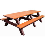 Polly Products Standard 8' Picnic Table, Cedar Top & Bench/Brown Frame