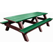 Polly Products Standard 8' Picnic Table, Green Top & Bench/Brown Frame