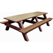 Polly Products Standard 8' Picnic Table, Weathered Top & Bench/Brown Frame