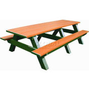 Polly Products Standard 8' Picnic Table, Cedar Top & Bench/Green Frame