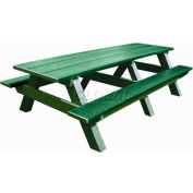 Polly Products Standard 8' Picnic Table, Green Top & Bench/Green Frame