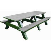 Polly Products Standard 8' Picnic Table, Gray Top & Bench/Green Frame