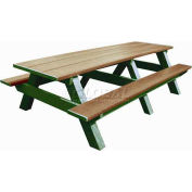 Polly Products Standard 8' Picnic Table, Weathered Top & Bench/Green Frame