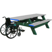 Polly Products Standard 8' Picnic Table ADA Compliant One End, Gray Top & Bench/Green Frame