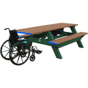 Polly Products Standard 8' Picnic Table ADA Compliant One End, Weathered Top & Bench/Green Frame