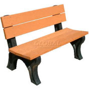 Polly Products Traditional 4 Ft. Backed Bench, Brown Bench/Brown Frame