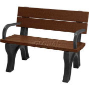Polly Products Traditional 4 Ft. Backed Bench with Arms, Brown Bench/Black Frame