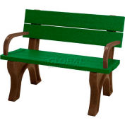 Polly Products Traditional 4 Ft. Backed Bench with Arms, Green Bench/Brown Frame