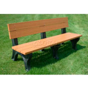 Polly Products Traditional 6 Ft. Backed Bench, Cedar Bench/Brown Frame