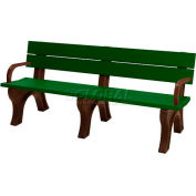 Polly Products Traditional 6 Ft. Backed Bench with Arms, Green Bench/Brown Frame