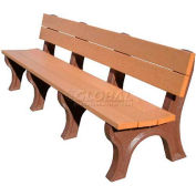 Polly Products Traditional 8 Ft. Backed Bench, Cedar Bench/Brown Frame