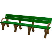 Polly Products Traditional 8 Ft. Backed Bench with Arms, Green Bench/Brown Frame