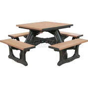 Polly Products Town Square Table, Weathered Top/Black Frame