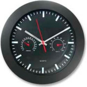 "Artistic® 12"" Round Quartz Wall Clock with Temperature & Humidity Display, Black"