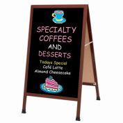 "Aarco Cherry Wood Look A-Frame Sidewalk Board w/ Black Chalkboard - 24""W x 42""H"