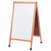 "Aarco Solid Oak Wood A-Frame Sidewalk White Marker Board - 24""W x 42""H"
