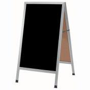 """Aarco Aluminum A-Frame Sidewalk Black Marker Board - 24""""W x 42""""H"""