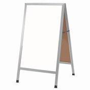 """Aarco Aluminum A-Frame Sidewalk White Marker Board - 24""""W x 42""""H"""