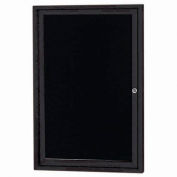 "Aarco 1 Door Letter Board Cabinet Black Powder Coat - 24""W x 36""H"