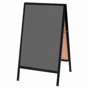 "Aarco Aluminum Black Powder Coated A-Frame Sidewalk Black Chalkboard - 24""W x 42""H"
