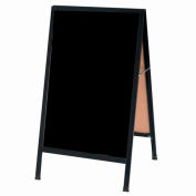 "Aarco Aluminum Black Powder Coated A-Frame Sidewalk Black Acrylic Board - 24""W x 42""H"