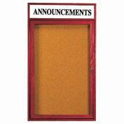 """Aarco 1 Door Cherry Enclosed Bulletin Board w/ Header - 18""""W x 24""""H"""