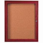 """Aarco 1 Door Cherry Enclosed Bulletin Board - 36""""W x 30""""H"""