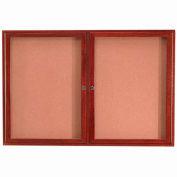"""Aarco 2 Door Cherry Enclosed Bulletin Board - 60""""W x 36""""H"""