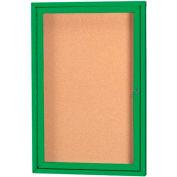 "Aarco 1 Door Framed Enclosed Bulletin Board Green Powder Coat - 18""W x 24""H"