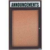 "Aarco 1 Door Aluminum Framed Bulletin Board w/ Header Bronze Anod. - 18""W x 24""H"