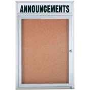 "Aarco 1 Door Aluminum Framed Bulletin Board w/ Header - 24""W x 36""H"