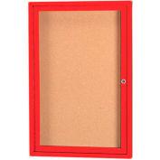 "Aarco 1 Door Framed Enclosed Bulletin Board Red Powder Coat - 24""W x 36""H"