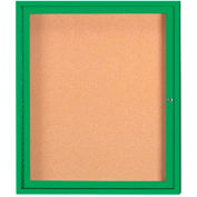 "Aarco 1 Door Framed Enclosed Bulletin Board Green Powder Coat - 30""W x 36""H"