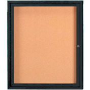 "Aarco 1 Door Framed Illuminated Enclosed Bulletin Board Black Pwdr. Coat - 30""W x 36""H"