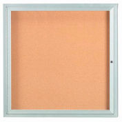 "Aarco 1 Door Framed Enclosed Bulletin Board - 36""W x 36""H"
