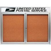 "Aarco 2 Door Aluminum Framed Bulletin Board w/ Header - 48""W x 36""H"