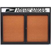 "Aarco 2 Door Aluminum Framed Bulletin Board w/ Header Bronze Anod. - 48""W x 36""H"