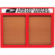 "Aarco 2 Door Alum Framed Bulletin Board w/ Header, Illum Red Pc - 48""W x 36""H"