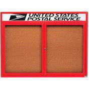 "Aarco 2 Door Alum Framed Bulletin Board w/ Header, Illum Red Pc - 48""W x 36""H"